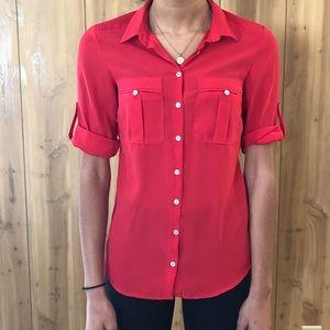 Red button up shirt